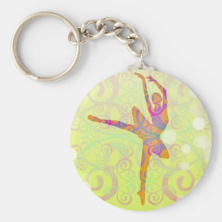 Elegant Dancing Ballerina Basic Round Button Keychain