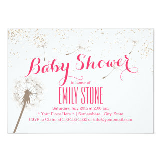 Elegant Dandelion Blowing Pink Baby Shower 5x7 Paper Invitation Card