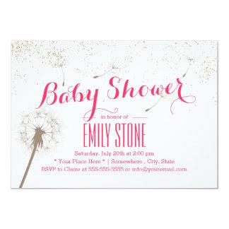 Elegant Dandelion Blowing Pink Baby Shower Card