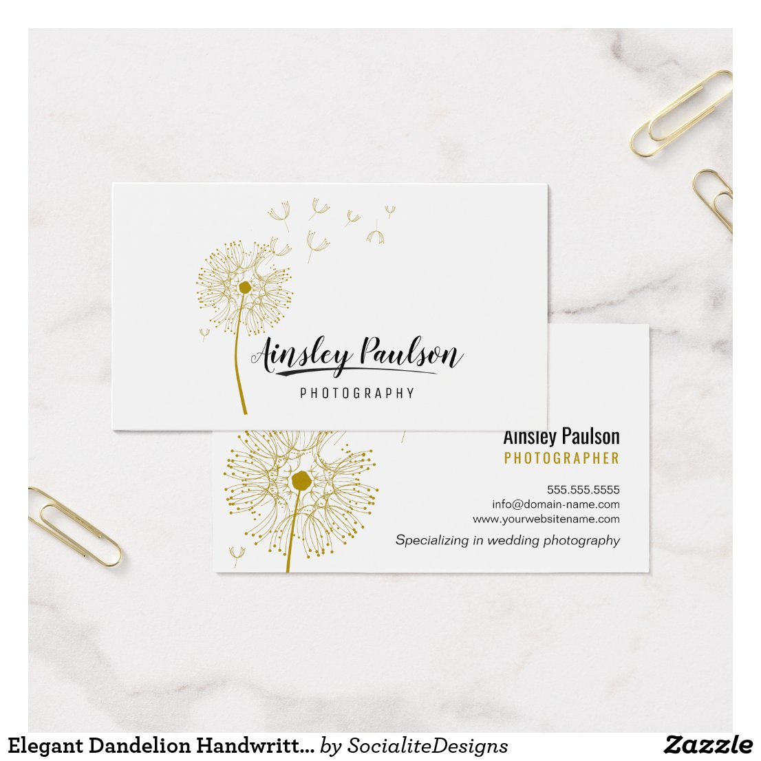 Elegant Dandelion Handwritten Script Calligraphy Business Card