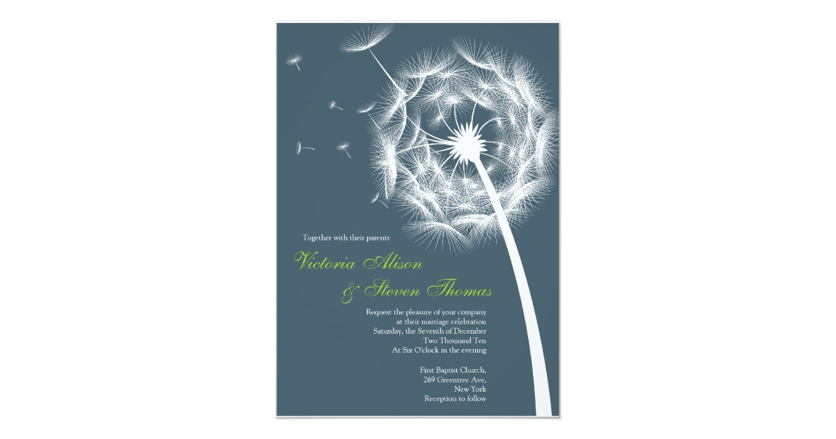 elegant dandelion wedding invitation zazzle
