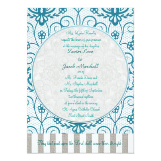 Elegant Dark Aqua & Silver Lace Wedding Invitation