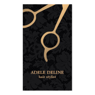 Elegant Dark Black Lace Gold Scissor Hair Stylist Business Card