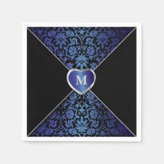 Elegant Dark Blue and Black Damask | Monogram Napkin