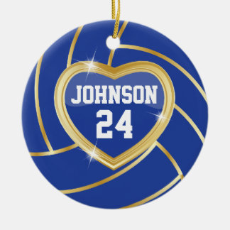 Elegant Dark Blue and Gold Volleyball Ceramic Ornament