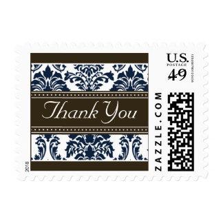 Elegant Dark Blue Damask Ribbon Thank You Stamps