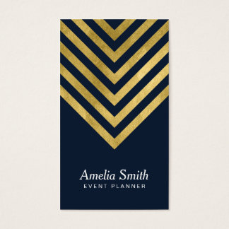 Elegant Dark Blue Faux Gold Geometric Social Media Business Card