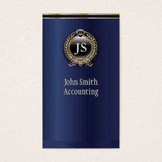 Elegant Dark Blue & Gold Accountant Business Card