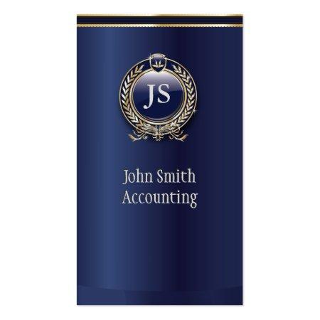 Elegant Dark Royal Blue & Gold Accountant Business Cards
