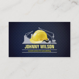Construction safety business cards templates zazzle elegant dark blue grid safety helmet construction business card colourmoves