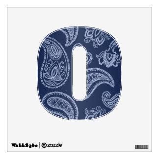 Elegant dark blue paisley pattern wall sticker