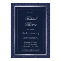 Elegant Dark Blue Silver Border Bridal Shower Invitation