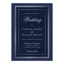 Elegant Dark Blue Silver Border Wedding Invitation