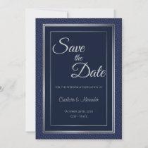 Elegant Dark Blue Silver Border Wedding Save the D Save The Date
