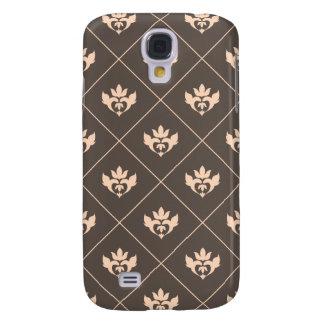 Elegant Dark Brown Beige Ivory Ornament Pattern Galaxy S4 Cover