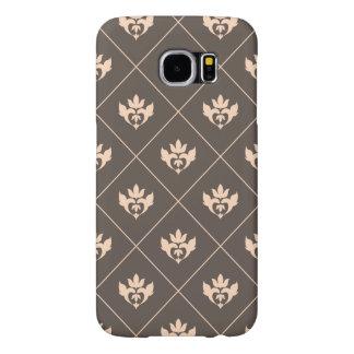 Elegant Dark Brown Beige Ivory Ornament Pattern Samsung Galaxy S6 Case