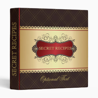 Elegant Dark Brown & Gold Recipe Binder