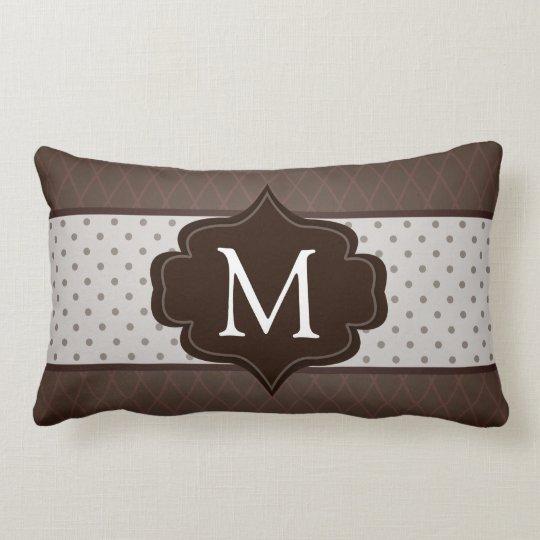 Elegant Dark Brown Polka Dot Custom Monogram Lumbar Pillow