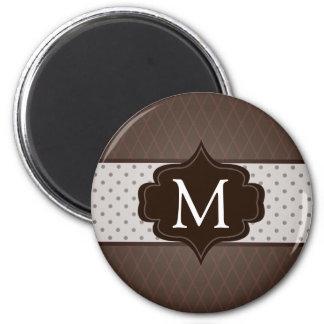 Elegant Dark Brown Polka Dot Custom Monogram 2 Inch Round Magnet