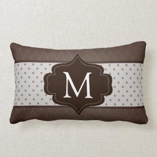 Elegant Dark Brown Polka Dot Custom Monogram Throw Pillow