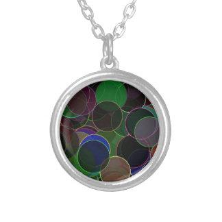 Elegant Dark Bubbles Round Pendant Necklace