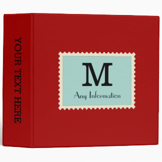 Elegant Dark candy apple red Color Monogram Binder