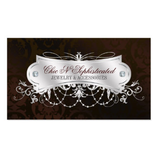 Elegant Dark Chocolate Damask Swirl Double-Sided Standard Business Cards (Pack Of 100)