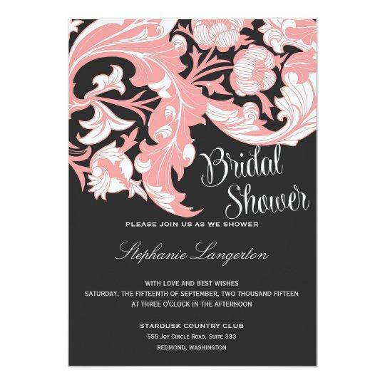 Elegant Dark & Classy Florals - Black, Candy Pink Card