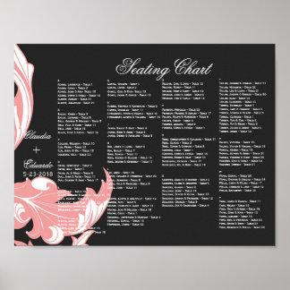 Elegant Dark & Classy Florals - Black, Candy Pink Poster