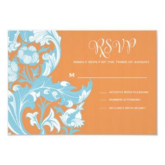 Elegant Dark & Classy Florals - Burnt Orange, Blue Card