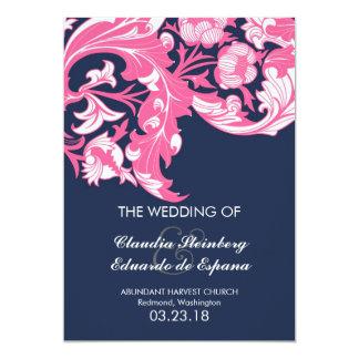 Elegant Dark & Classy Florals - Dark Blue, Pink 5x7 Paper Invitation Card