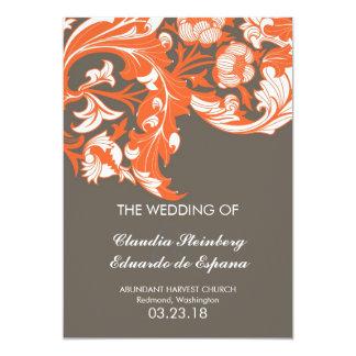 Elegant Dark & Classy Florals - Dark Gray, Orange 5x7 Paper Invitation Card