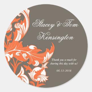 Elegant Dark & Classy Florals - Dark Gray, Orange Classic Round Sticker