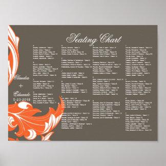 Elegant Dark & Classy Florals - Dark Gray, Orange Poster