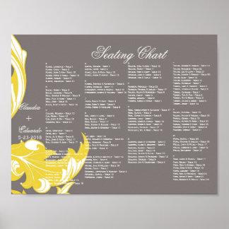 Elegant Dark & Classy Florals - Dark Gray, Yellow Print