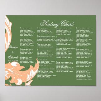Elegant Dark & Classy Florals - Dark Green, Peach Posters