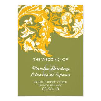 Elegant Dark & Classy Florals - Moss Green, Orange 5x7 Paper Invitation Card