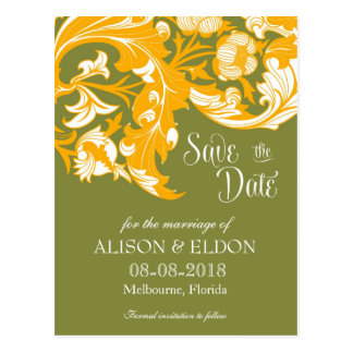 Elegant Dark & Classy Florals - Moss Green, Orange Postcard