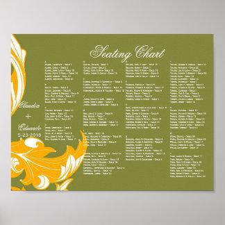 Elegant Dark & Classy Florals - Moss Green, Orange Print