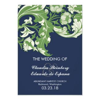 Elegant Dark & Classy Florals - Navy Blue, Green 5x7 Paper Invitation Card