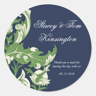 Elegant Dark & Classy Florals - Navy Blue, Green Classic Round Sticker