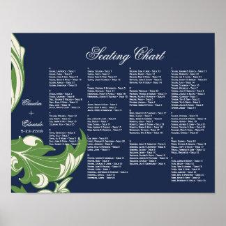 Elegant Dark & Classy Florals - Navy Blue, Green Posters