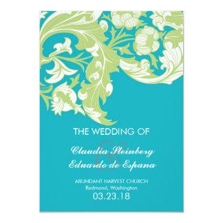 Elegant Dark & Classy Florals - Sky Blue, Green 5x7 Paper Invitation Card