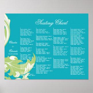 Elegant Dark & Classy Florals - Sky Blue, Green Poster