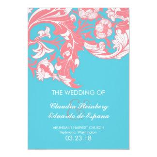 Elegant Dark & Classy Florals - Sky Blue, Pink 5x7 Paper Invitation Card