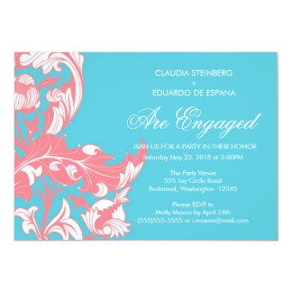 Elegant Dark & Classy Florals - Sky Blue, Pink Card