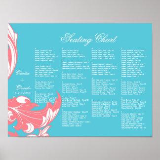 Elegant Dark & Classy Florals - Sky Blue, Pink Poster