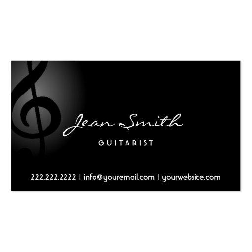 Elegant Dark Clef Guitarist Business Card