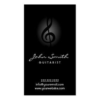 Elegant Dark Clef Guitarist Music Business Card