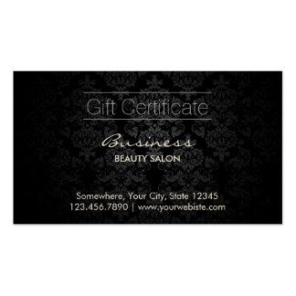 Elegant Dark Damask Beauty Salon Gift Certificates Double-Sided Standard Business Cards (Pack Of 100)